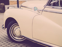 The Classic Car With Star And Beige Car Paint