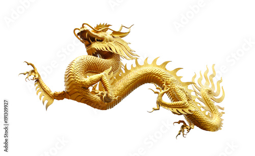 Chinese golden dragon isolated on white with clipping path Fototapet