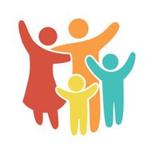 Happy Family Icon Multicolored...