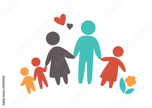 Obraz Happy family icon multicolored in simple figures. Three children, dad and mom stand together. Vector can be used as logotype - fototapety do salonu