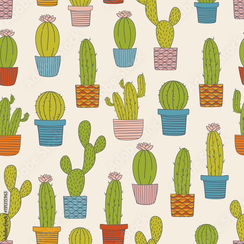 colorful and bright cactus seamless pattern cute hand drawn doodle