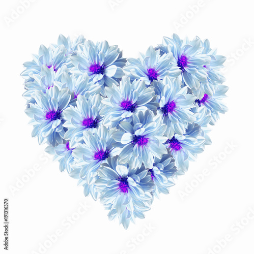 Poster Surrealism Heart Blue Light Flowers