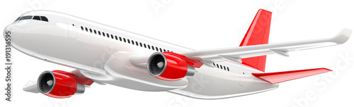 Photo High detailed white airliner with a red tail wing, 3d render on a white background