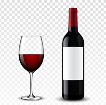 Wine Bottle Vector Illustration.
