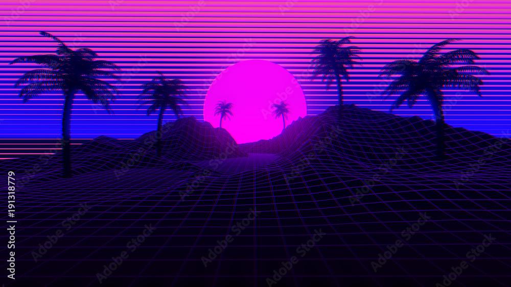 Fototapeta 80s Retro Synthwave Background 3D Illustration