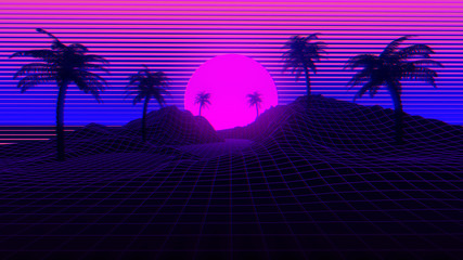 80s Retro Synthwave Background 3D Illustration