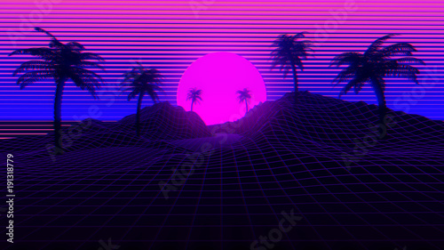 80s Retro Synthwave Background 3D Illustration Wallpaper Mural