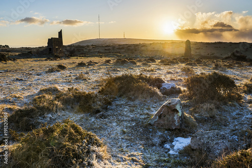 Bodmin Moor at sunrise at Minions looking towards Caradon Hill and tv mast, Cornwall, UK