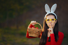 Easter Girl With A Basket Of R...