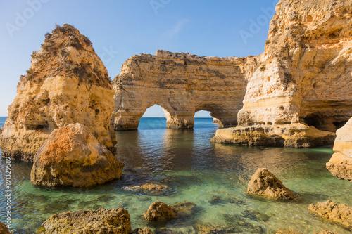 Natural caves at Marinha beach, Algarve Portugal Canvas Print