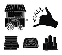 Order Pizza Gesture, Box For Pizza, Oven, Trailer. Pizza And Pizzeria Set Collection Icons In Black Style Vector Symbol Stock Illustration Web.