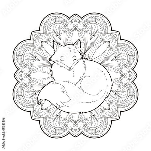 Plakat  Vector image of a cute fox design isolated on a white background