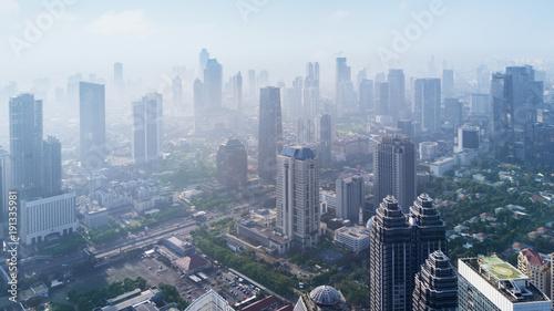 Keuken foto achterwand New York Jakarta city in misty morning