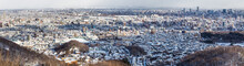 Panorama Aerial View Of Sapporo City During Winter With Snow