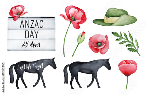 Anzac Day Illustration Set Wallpaper Mural