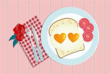 Love Breakfast Fried Heart Sha...