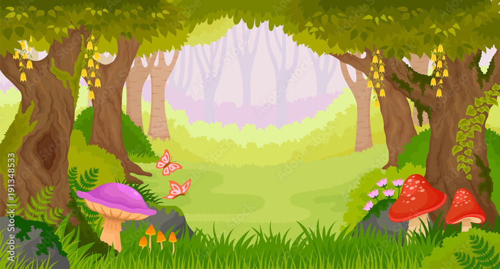 Fototapeta Bright cartoon fairy tale forest with copy space