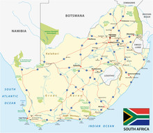 South Africa Road Vector Map W...