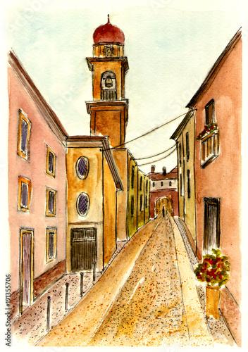 akwarela-rysunek-starozytnej-ulicy-w-weronie
