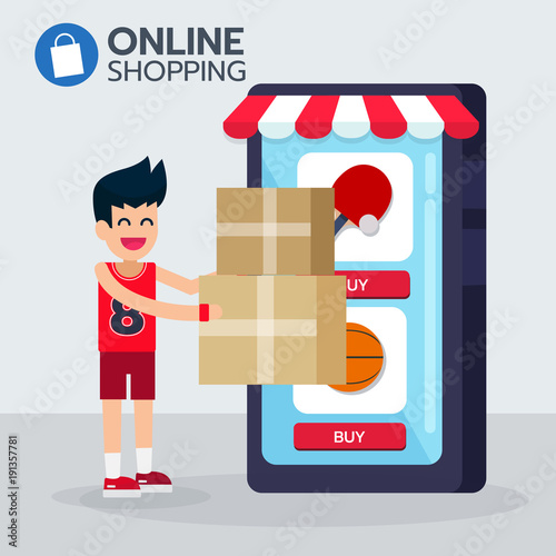 Happy sportman Get box order from e commerce application