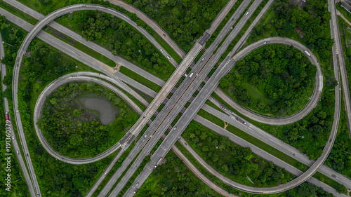 Photo  Aerial view highway junction, cross roads, interchange and expressway is an important infrastructure in Thailand