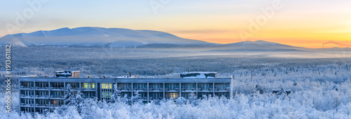 Winter panorama of the Khibiny (Hibiny) mountains during the sunrise Wallpaper Mural