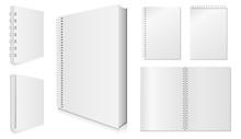 Blank Spiral Notebook Vector Illustration Set.