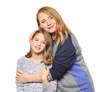 Happy mother and daughter hugging on white background