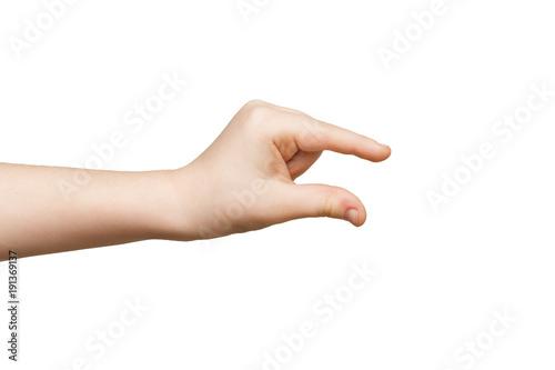 Valokuva  Kid hand measuring something, cutout, gesture