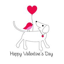 Cute Dog And Bird Valentine Wi...