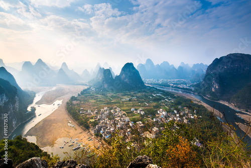 Foto op Canvas Guilin Landscape Mountain View of Guilin; Li River.Yangshuo County; Guilin City; Province; China.