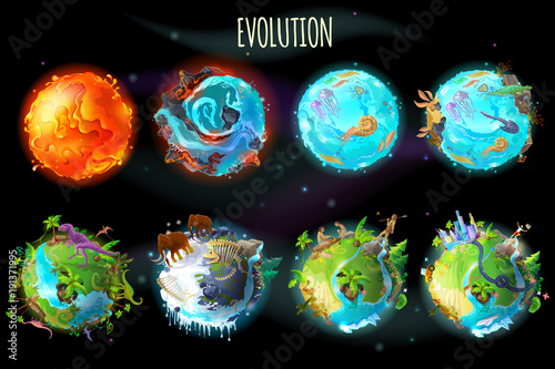 Obraz Vector cartoon fantastic planet Earth, world evolution set. Cosmic, space element game, timeline infographic design. Illustration from burning lava, water period, ice Age to green tropical plant river - fototapety do salonu