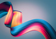 3D render abstract background. Colorful twisted shapes in motion. Computer generated digital art for poster, flyer, banner background or design element. Holographic foil ribbon on dark background.