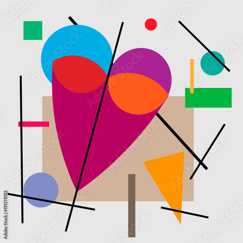 Illustration of heart, valentine. Geometrical illustration of the heart of Cubism Supermatism.