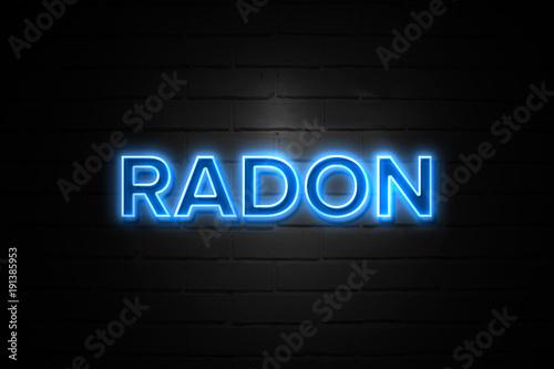 Vászonkép Radon neon Sign on brickwall