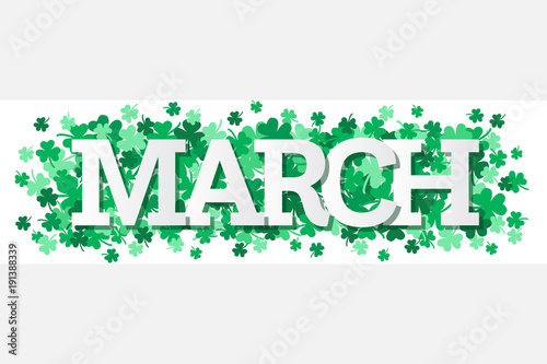 Foto March Single Word With Shamrocks Banner Vector Illustration 1