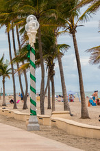 Decorated Light Pole At Beach