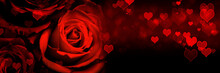 Red Roses With Heart Shapes Ba...