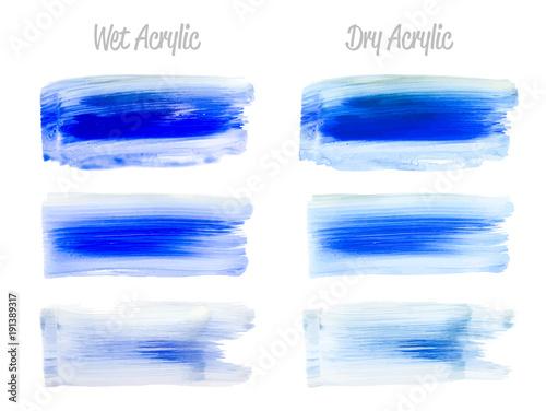 Vector blue paint smear stroke stain set Wallpaper Mural