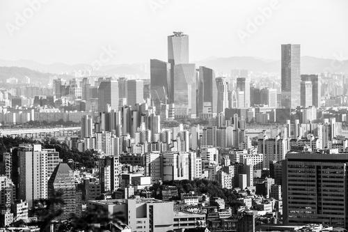 Zdjęcie XXL Czarny i biały widok Seul od Ansan góry, Południowy Korea