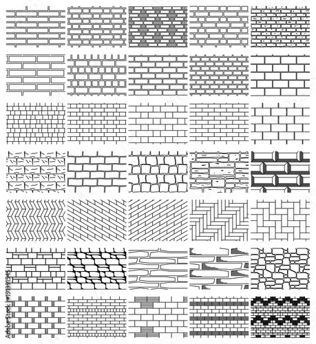 Valokuva  Collection drawings textures of brickwork for  design
