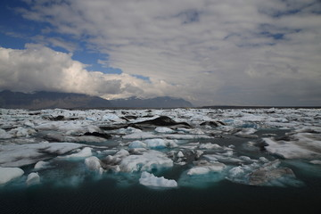 view of icebergs in Jokulsarlon glacier lagoon, Vatnajokull National Park, Iceland