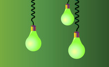 Hanging On Cords Three Light Bulbs On A Green Background. Vector