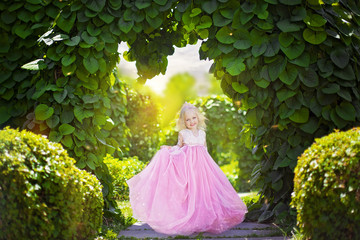 Beautiful little princess in pink dress on background of green arch in the park
