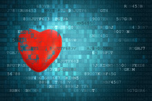 Pixelated Red Heart Symbol On ...