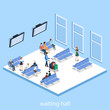 Isometric 3D vector illustration people at the airport with luggage and waiting for the plane