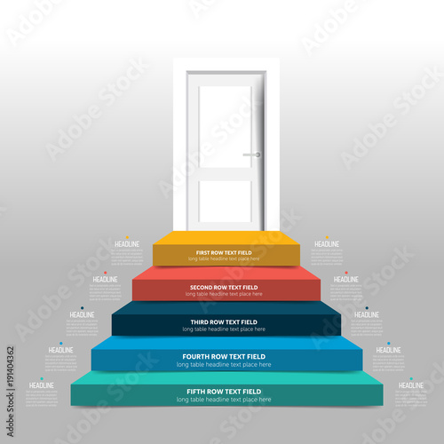 Door and stairs infographic, diagram, scheme, chart, template.