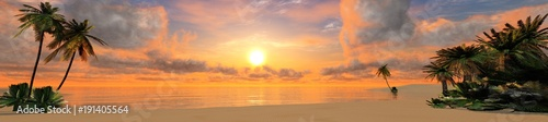 panorama of a tropical beach at sunset
