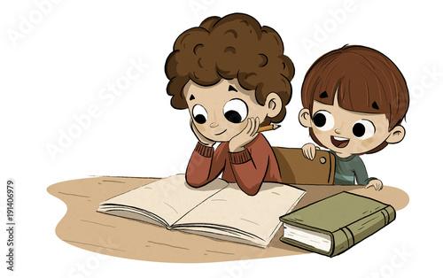 Fényképezés Niño estudiando con su hermano pequeño