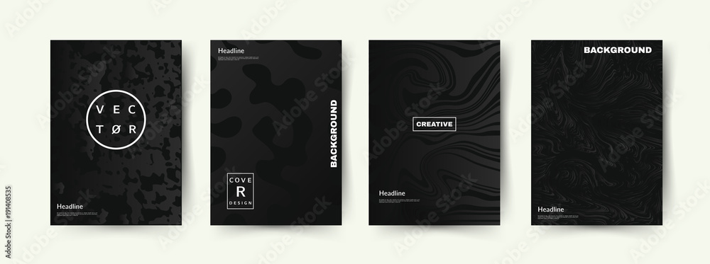 Fototapeta Elegant Black color covers set. Abstract shapes with gradients. Trendy design. Eps10 vector.